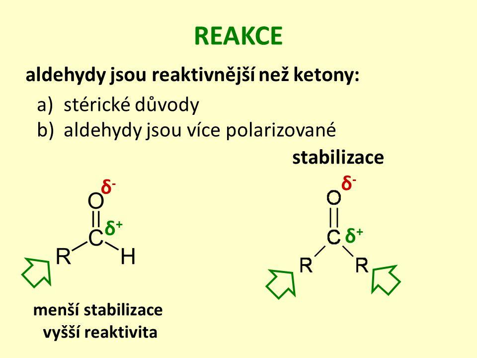 REAKCE aldehydy jsou reaktivnější než ketony: stérické důvody