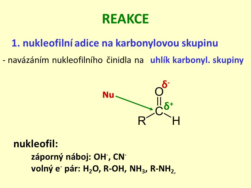 REAKCE 1. nukleofilní adice na karbonylovou skupinu δ- δ+ nukleofil: