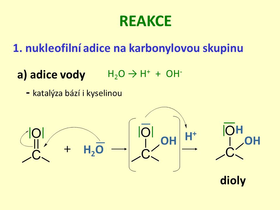 REAKCE 1. nukleofilní adice na karbonylovou skupinu a) adice vody