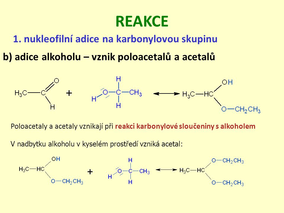 REAKCE 1. nukleofilní adice na karbonylovou skupinu