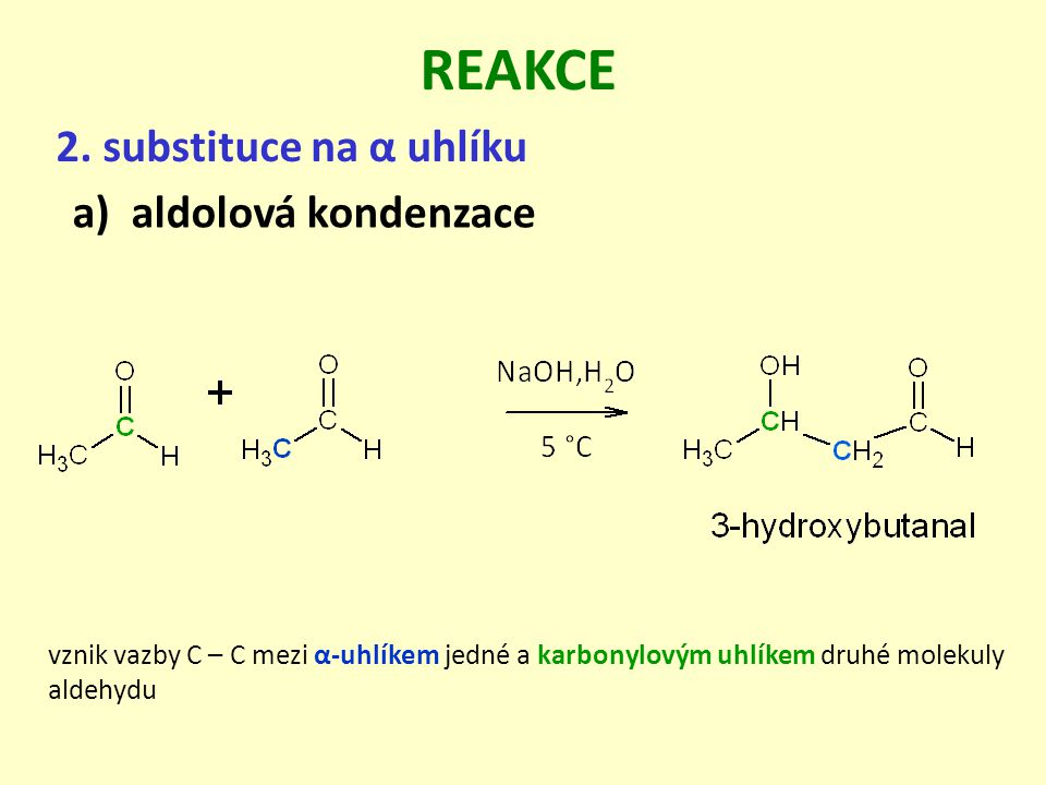 REAKCE 2. substituce na α uhlíku aldolová kondenzace