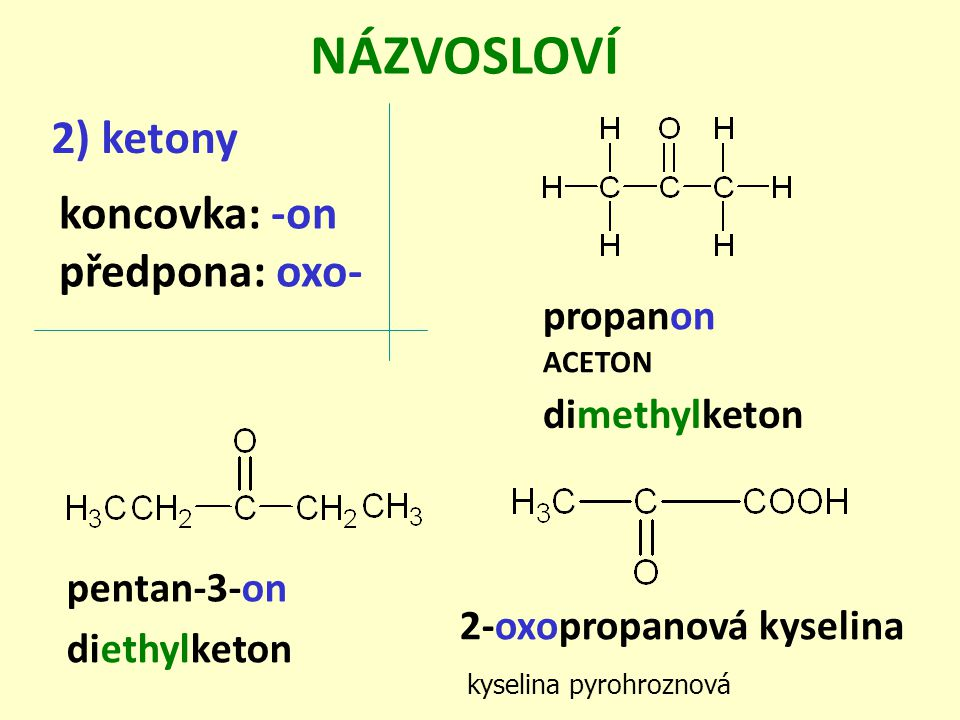 NÁZVOSLOVÍ 2) ketony koncovka: -on předpona: oxo- propanon