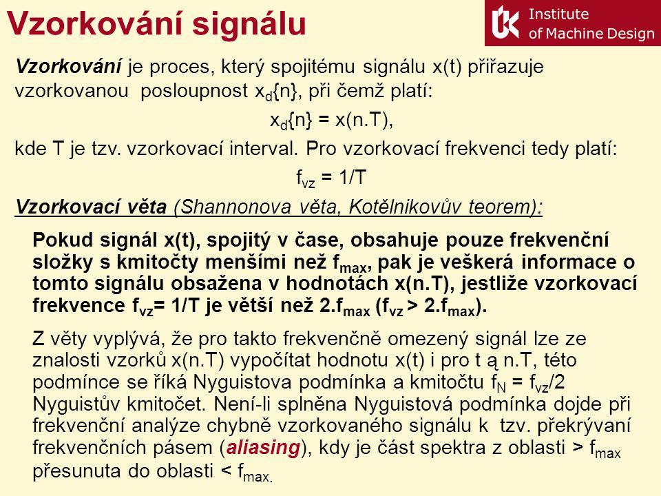 Vzorkování signálu Vzorkování je proces, který spojitému signálu x(t) přiřazuje vzorkovanou posloupnost xd{n}, při čemž platí: