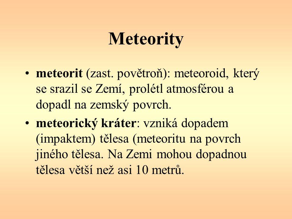 Meteority meteorit (zast. povětroň): meteoroid, který se srazil se Zemí, prolétl atmosférou a dopadl na zemský povrch.