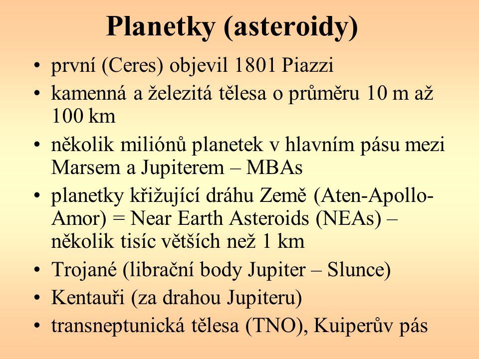 Planetky (asteroidy) první (Ceres) objevil 1801 Piazzi