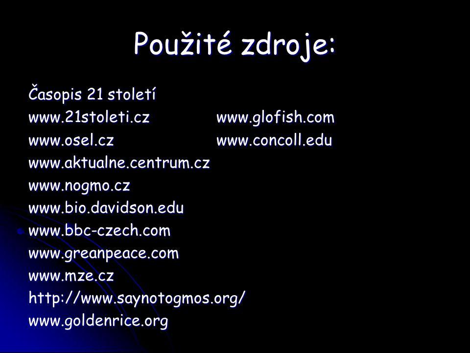 Použité zdroje: Časopis 21 století www.21stoleti.cz www.glofish.com