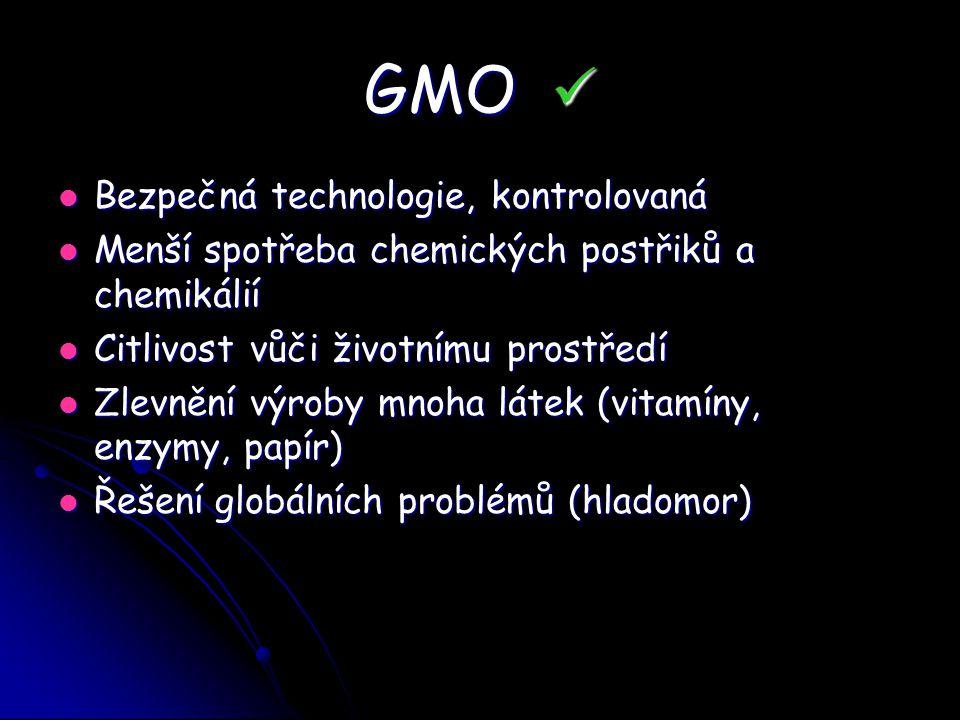 GMO  Bezpečná technologie, kontrolovaná