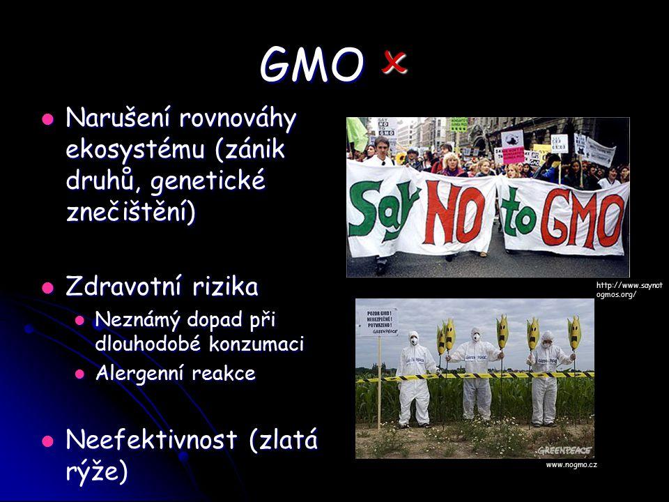 GMO  Narušení rovnováhy ekosystému (zánik druhů, genetické znečištění) Zdravotní rizika. Neznámý dopad při dlouhodobé konzumaci.