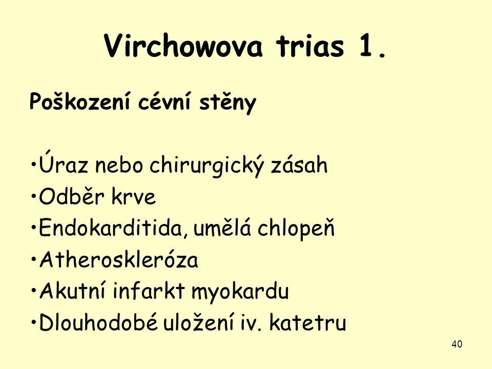Virchowova trias 1. Poškození cévní stěny Úraz nebo chirurgický zásah