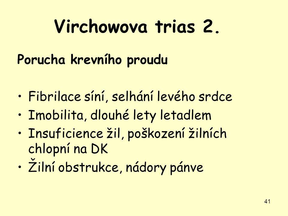 Virchowova trias 2. Porucha krevního proudu