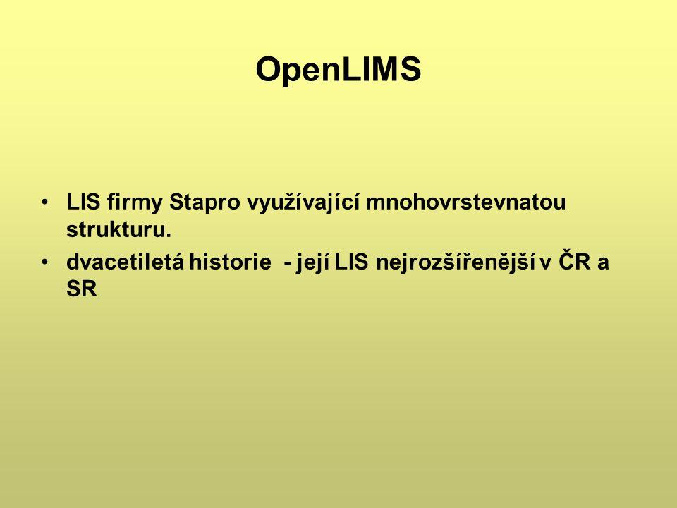 OpenLIMS LIS firmy Stapro využívající mnohovrstevnatou strukturu.