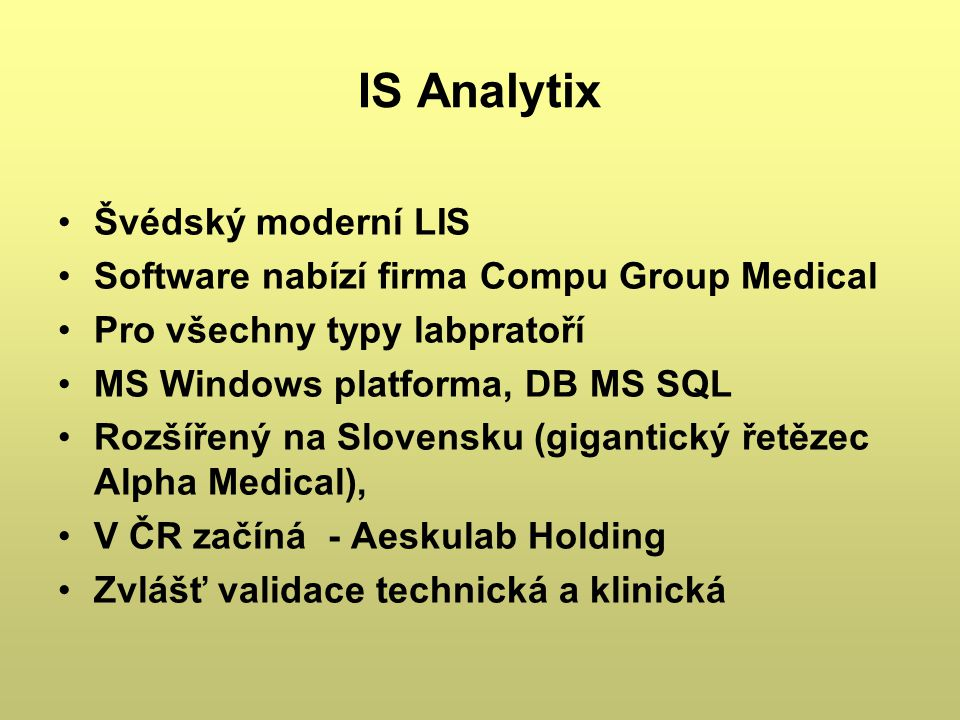IS Analytix Švédský moderní LIS