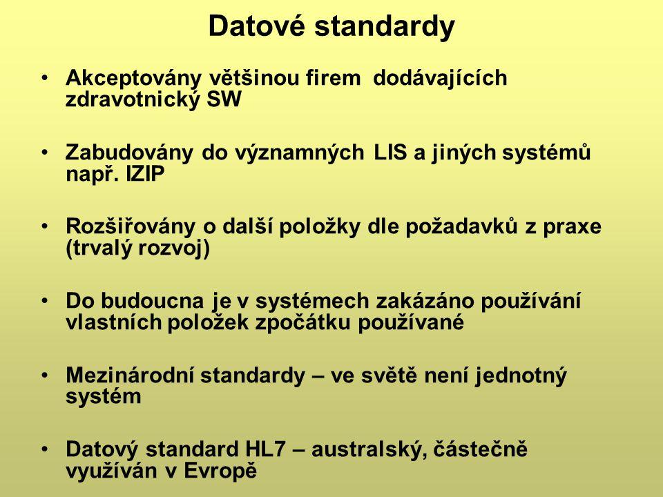 Datové standardy Akceptovány většinou firem dodávajících zdravotnický SW. Zabudovány do významných LIS a jiných systémů např. IZIP.