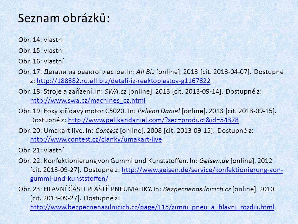 Seznam obrázků: Obr. 14: vlastní Obr. 15: vlastní Obr. 16: vlastní