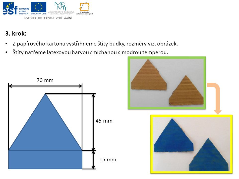 3. krok: Z papírového kartonu vystřihneme štíty budky, rozměry viz. obrázek. Štíty natřeme latexovou barvou smíchanou s modrou temperou.