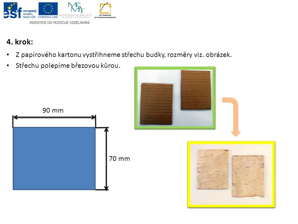 4. krok: Z papírového kartonu vystřihneme střechu budky, rozměry viz. obrázek. Střechu polepíme březovou kůrou.