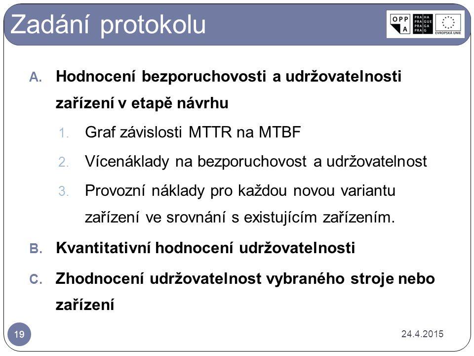Zadání protokolu Hodnocení bezporuchovosti a udržovatelnosti zařízení v etapě návrhu. Graf závislosti MTTR na MTBF.