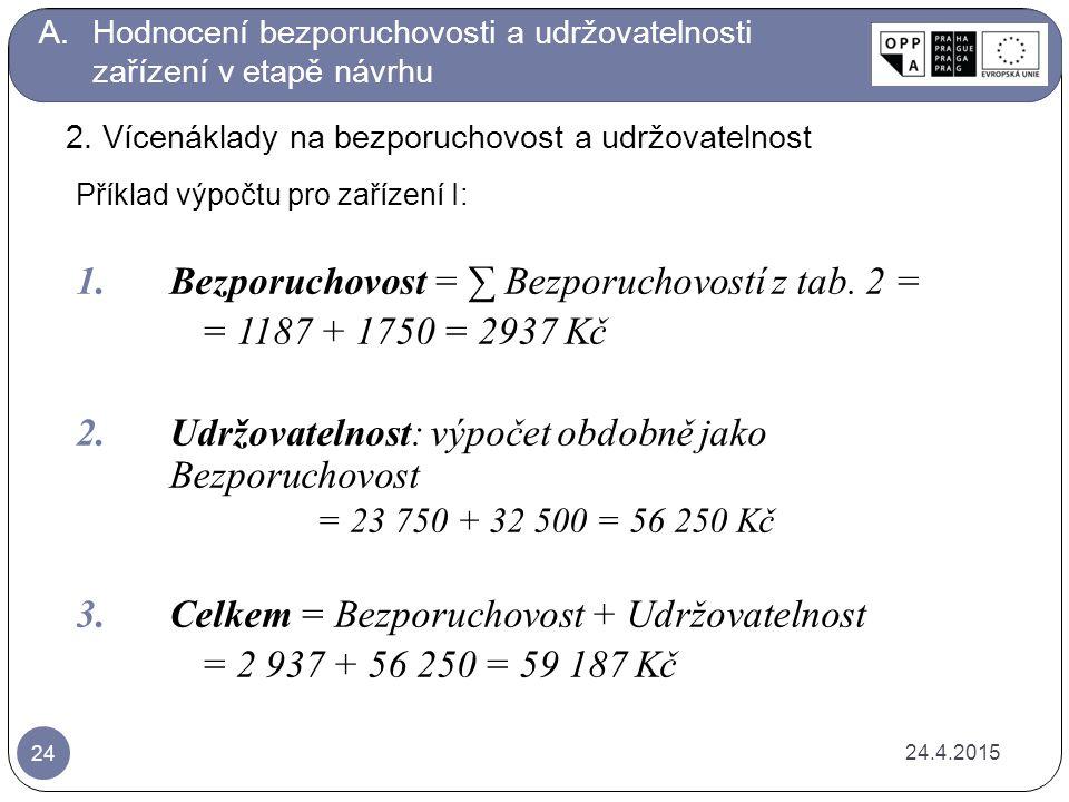 Bezporuchovost = ∑ Bezporuchovostí z tab. 2 = = 1187 + 1750 = 2937 Kč