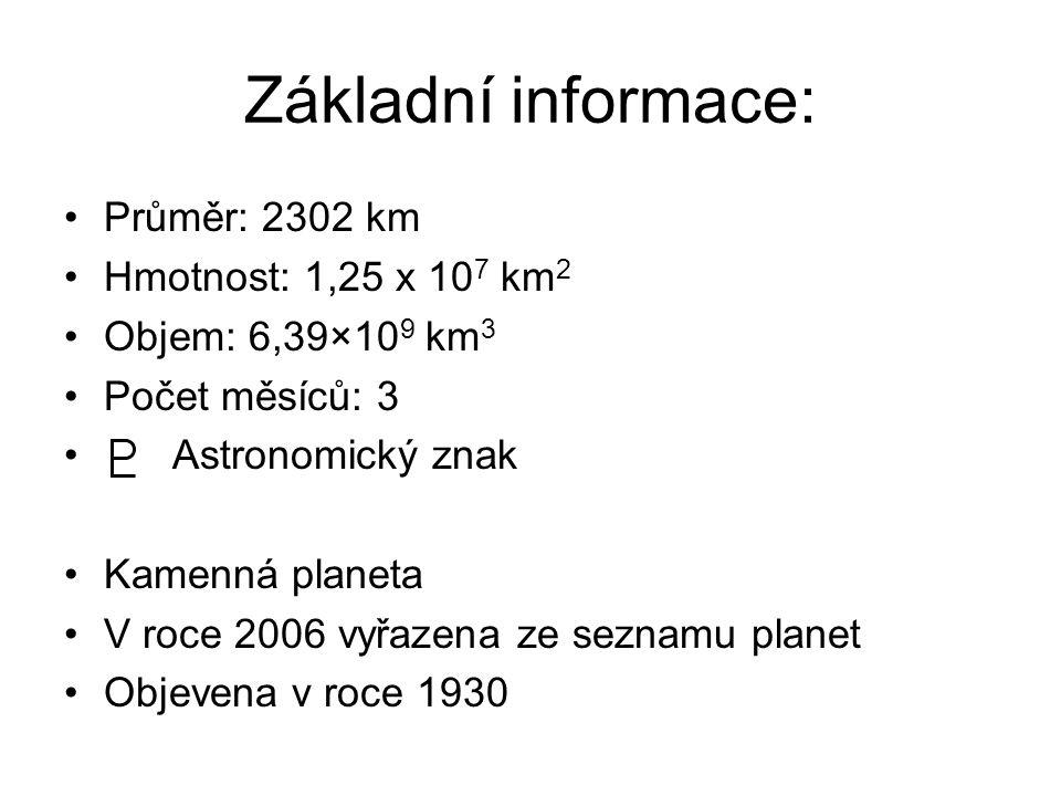 Základní informace: Průměr: 2302 km Hmotnost: 1,25 x 107 km2