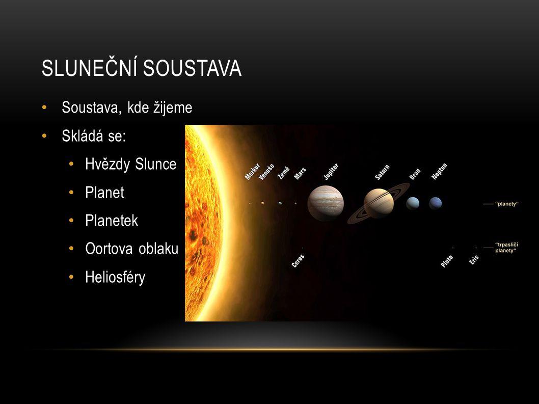 SLUNEČNÍ SOUSTAVA Soustava, kde žijeme Skládá se: Hvězdy Slunce Planet