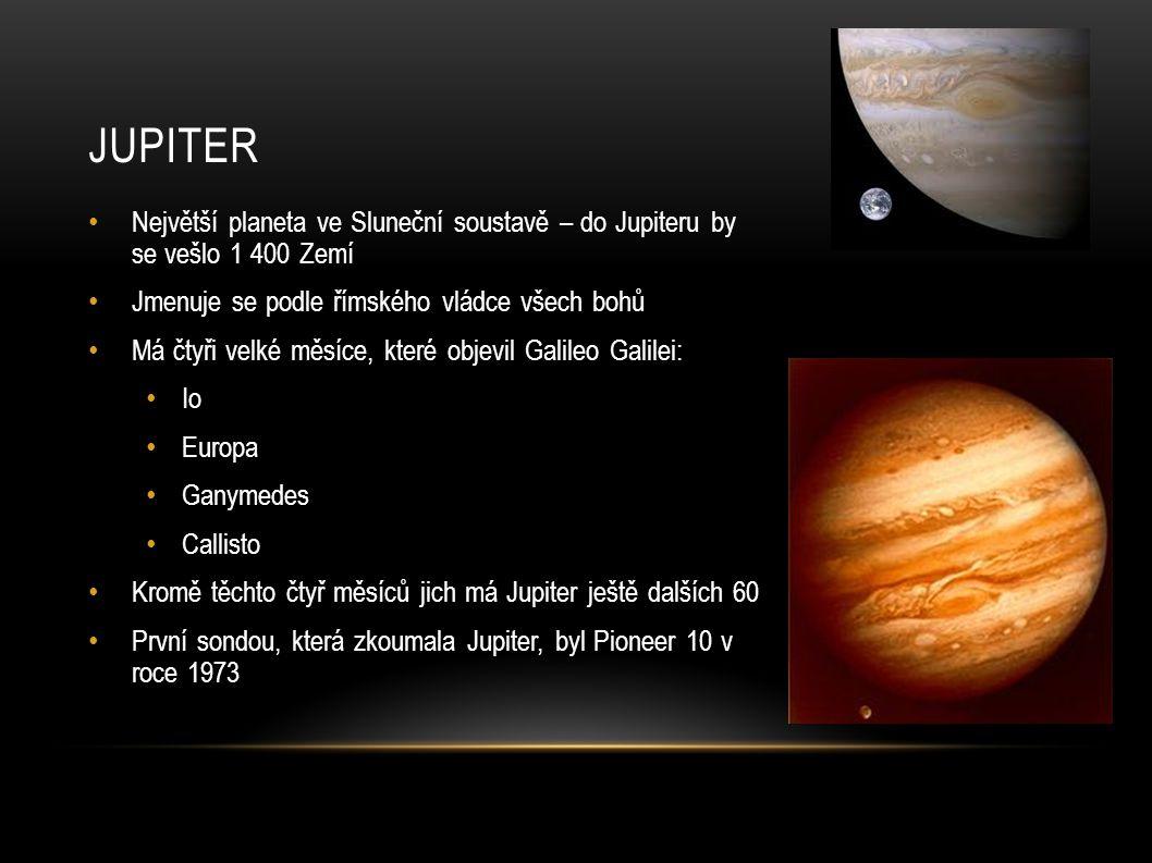 Jupiter Největší planeta ve Sluneční soustavě – do Jupiteru by se vešlo 1 400 Zemí. Jmenuje se podle římského vládce všech bohů.