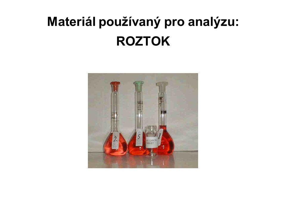 Materiál používaný pro analýzu: ROZTOK