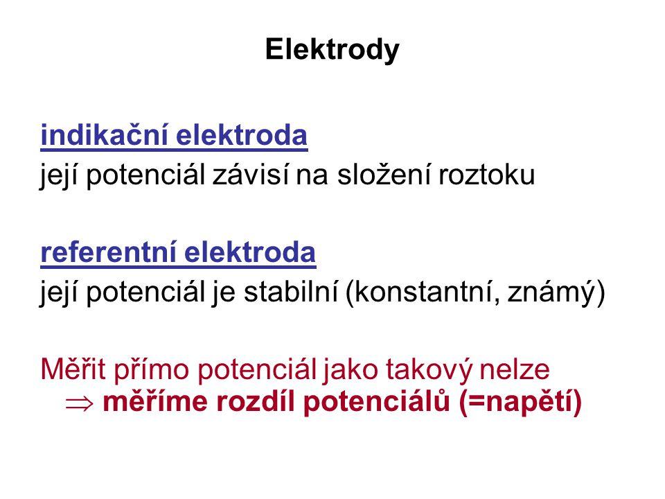 Elektrody indikační elektroda. její potenciál závisí na složení roztoku. referentní elektroda. její potenciál je stabilní (konstantní, známý)