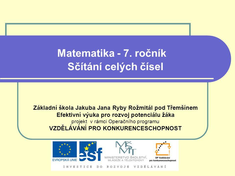 Matematika - 7. ročník Sčítání celých čísel