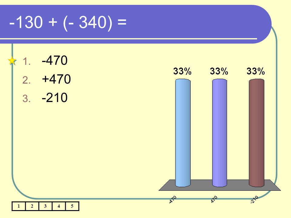 -130 + (- 340) = -470 +470 -210 1 2 3 4 5