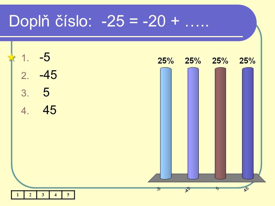 Doplň číslo: -25 = -20 + ….. -5 -45 5 45 1 2 3 4 5