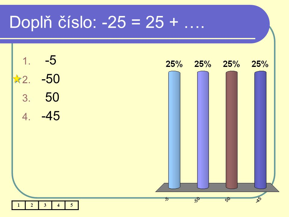 Doplň číslo: -25 = 25 + …. -5 -50 50 -45 1 2 3 4 5