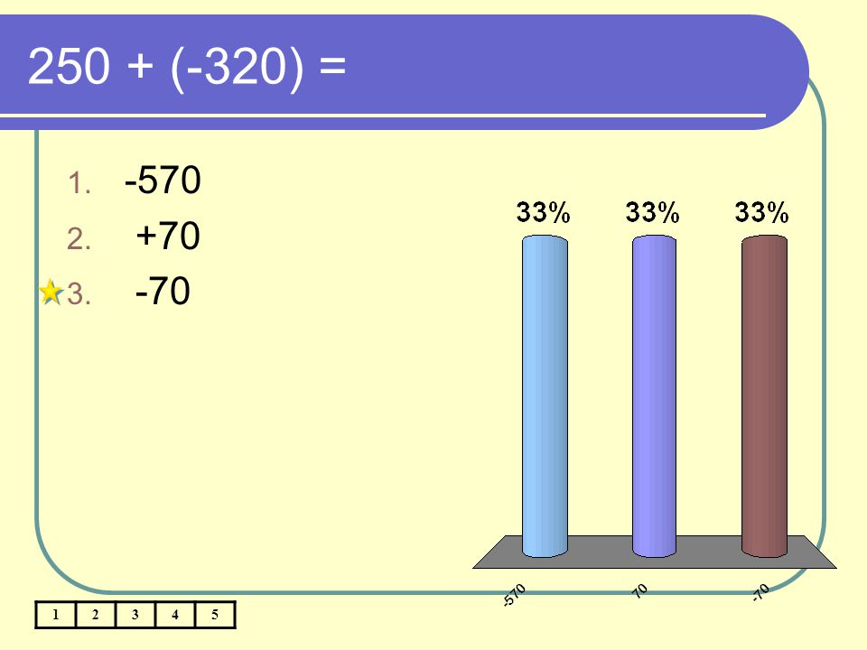 250 + (-320) = -570 +70 -70 1 2 3 4 5