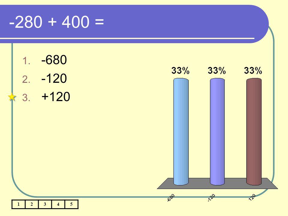 -280 + 400 = -680 -120 +120 1 2 3 4 5