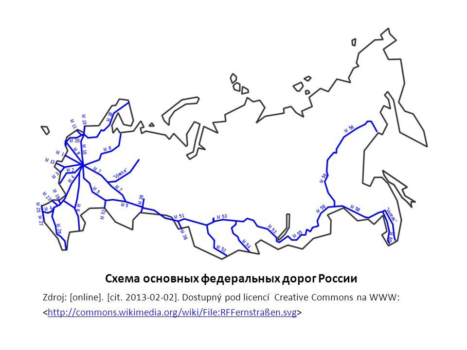 Схема основных федеральных дорог России