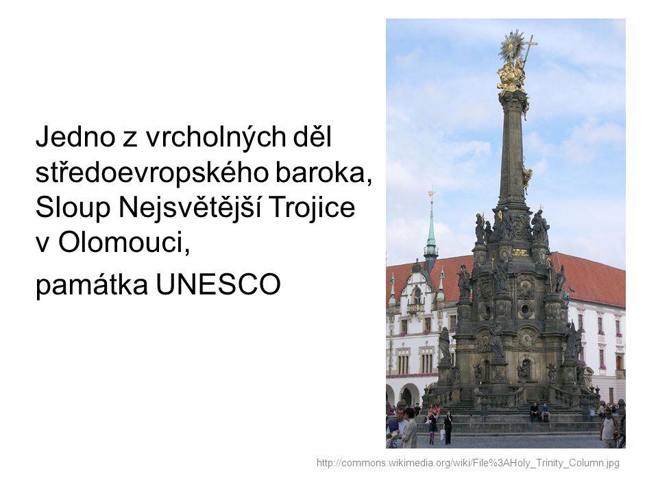 Jedno z vrcholných děl středoevropského baroka, Sloup Nejsvětější Trojice v Olomouci, památka UNESCO