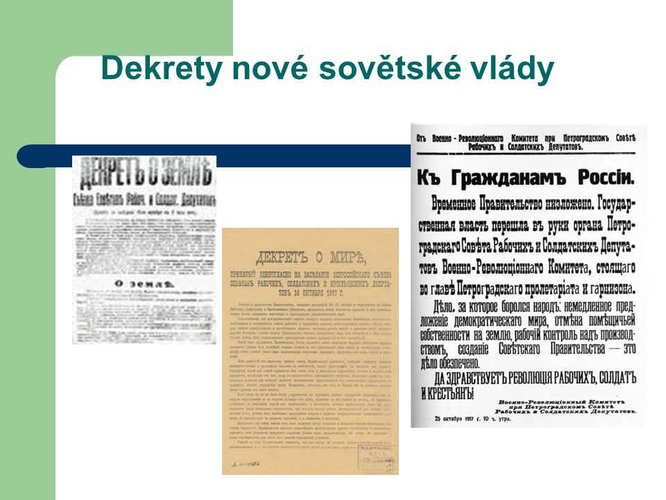 Dekrety nové sovětské vlády