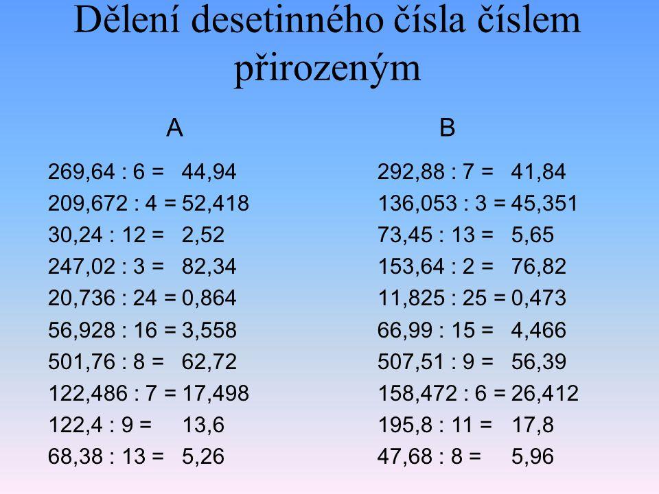Dělení desetinného čísla číslem přirozeným