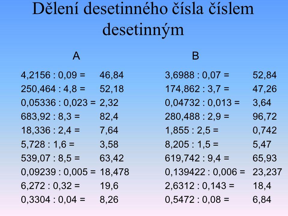 Dělení desetinného čísla číslem desetinným