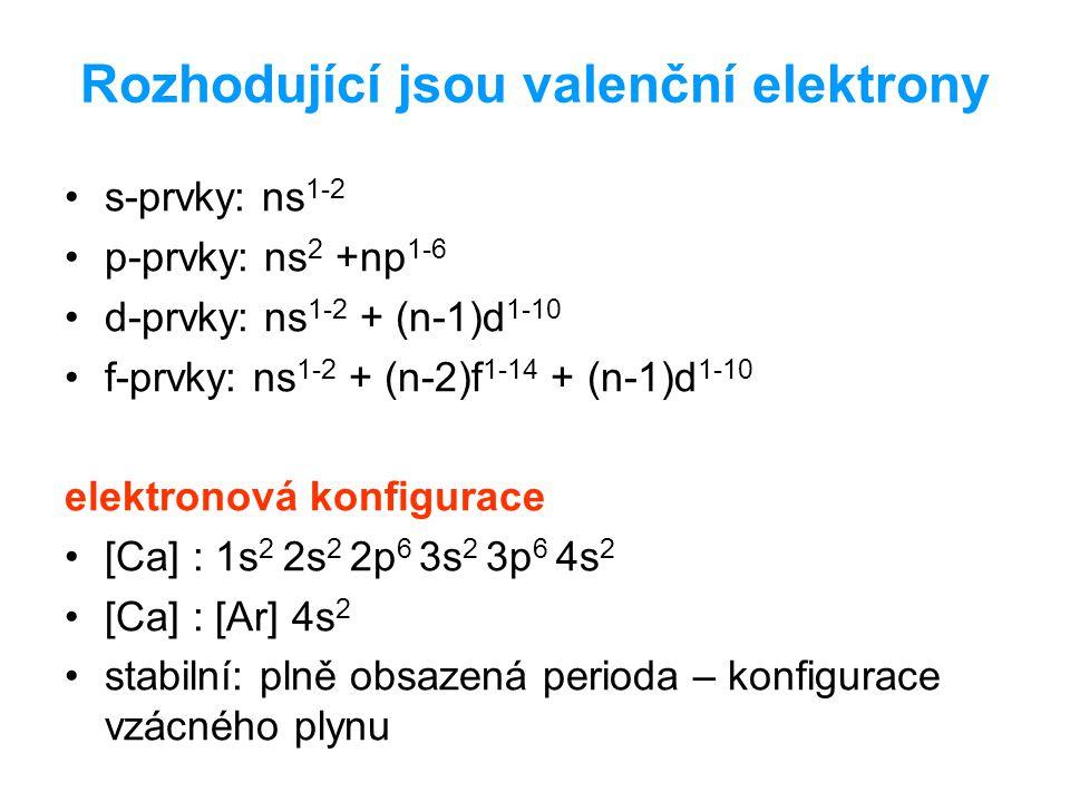 Rozhodující jsou valenční elektrony
