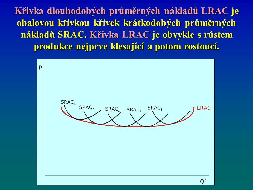 Křivka dlouhodobých průměrných nákladů LRAC je obalovou křivkou křivek krátkodobých průměrných nákladů SRAC.
