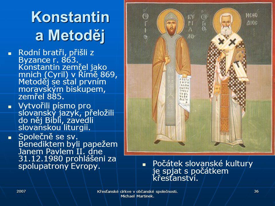 Křesťanské církve v občanské společnosti. Michael Martinek.