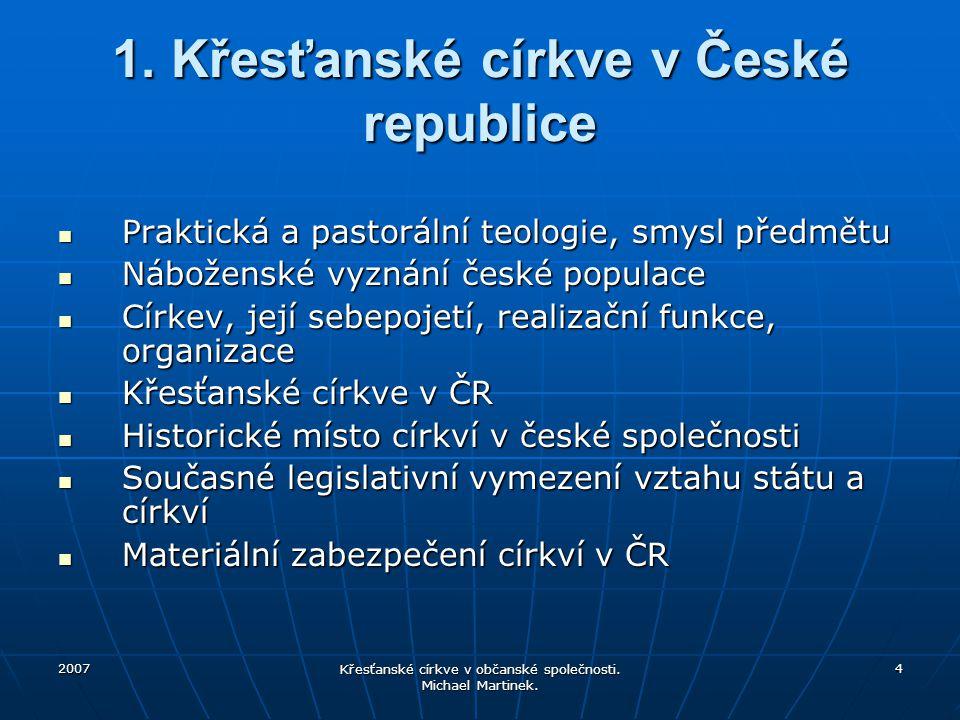 1. Křesťanské církve v České republice