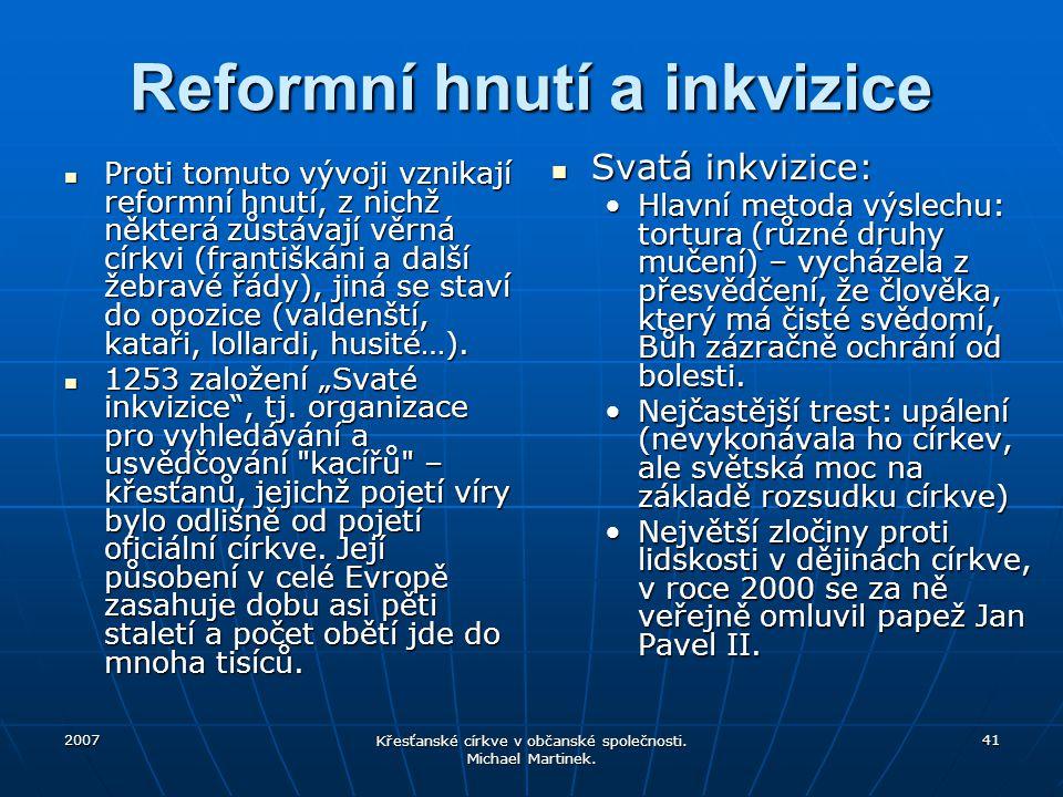 Reformní hnutí a inkvizice