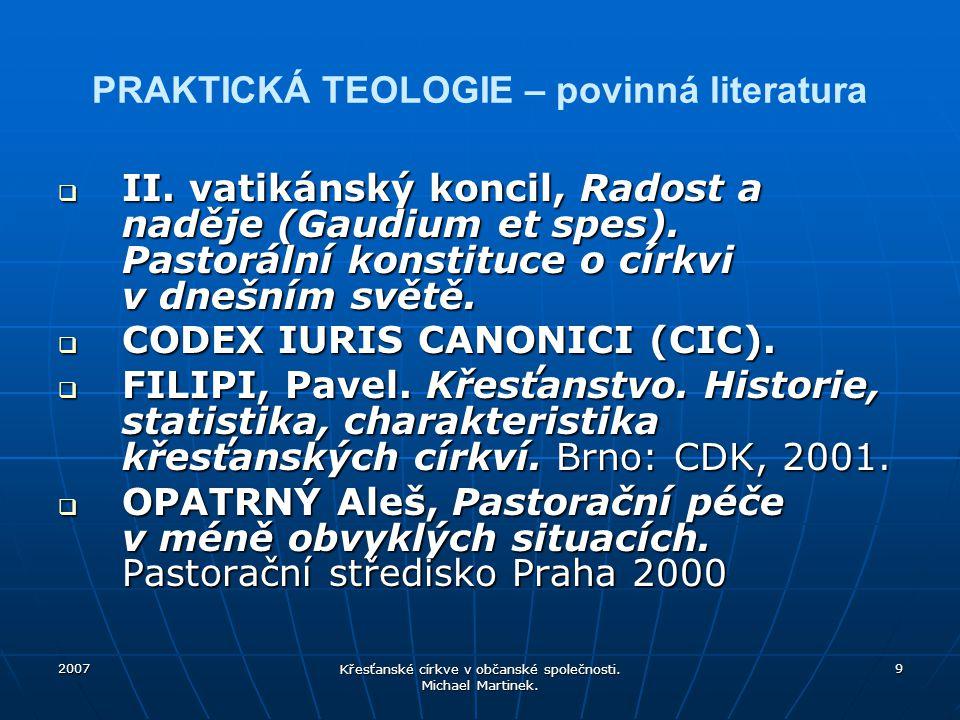 PRAKTICKÁ TEOLOGIE – povinná literatura