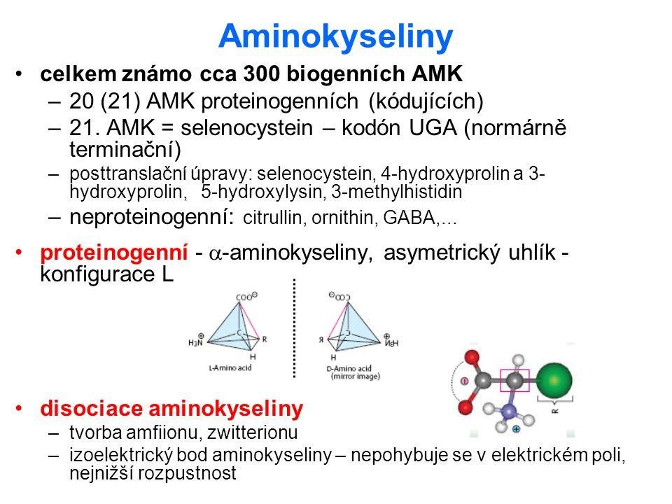 Aminokyseliny celkem známo cca 300 biogenních AMK