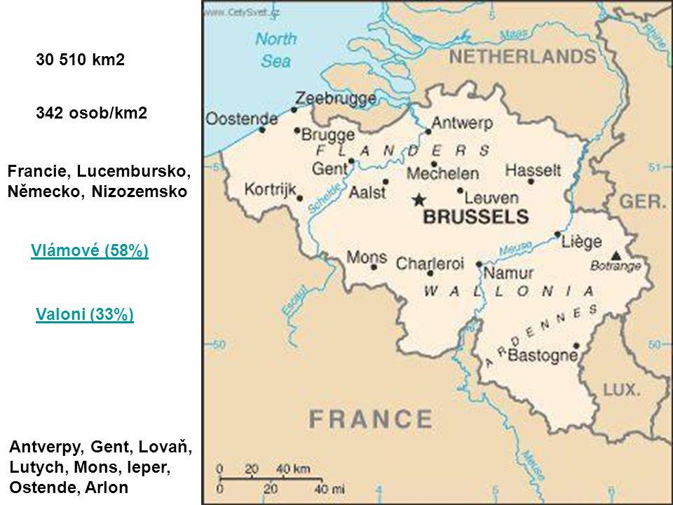 30 510 km2 342 osob/km2. Francie, Lucembursko, Německo, Nizozemsko. Vlámové (58%) Valoni (33%)