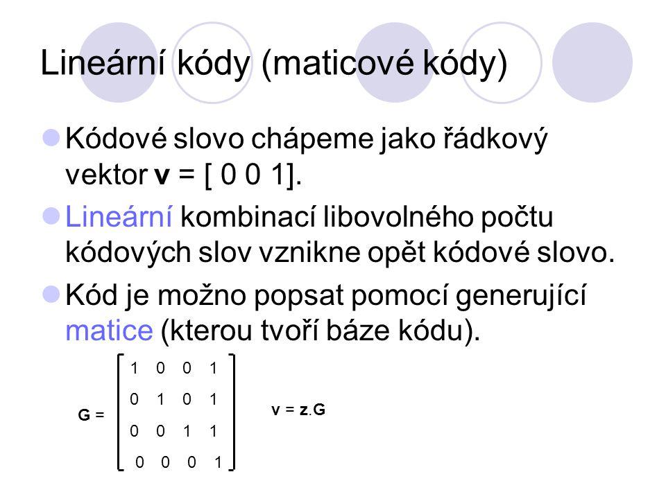 Lineární kódy (maticové kódy)