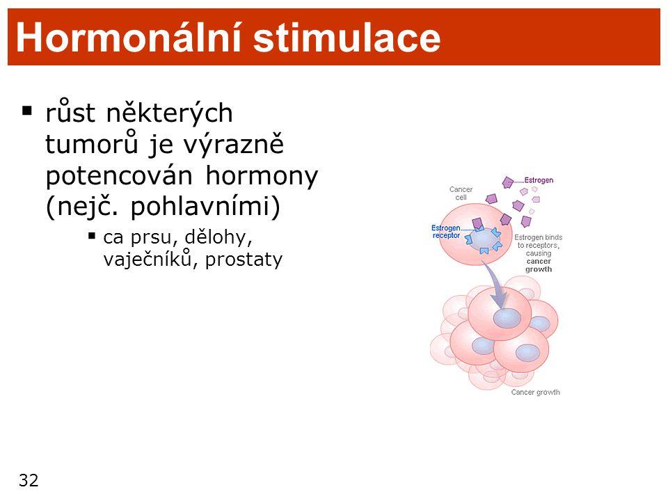 Hormonální stimulace růst některých tumorů je výrazně potencován hormony (nejč.