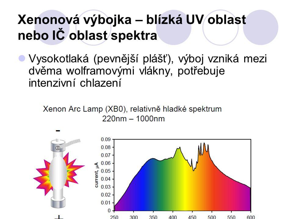 Xenonová výbojka – blízká UV oblast nebo IČ oblast spektra