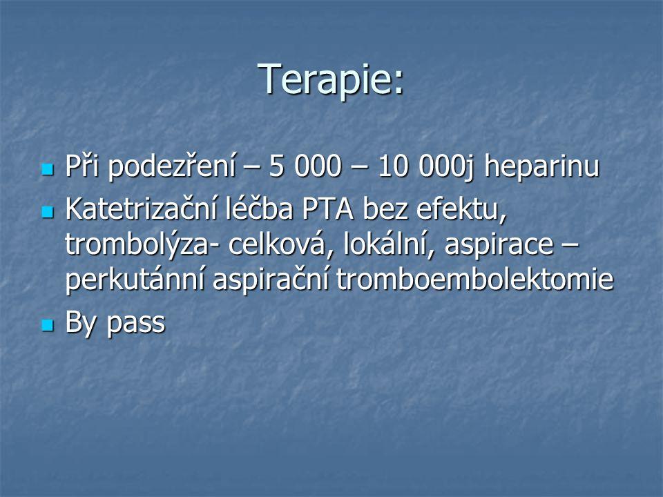 Terapie: Při podezření – 5 000 – 10 000j heparinu